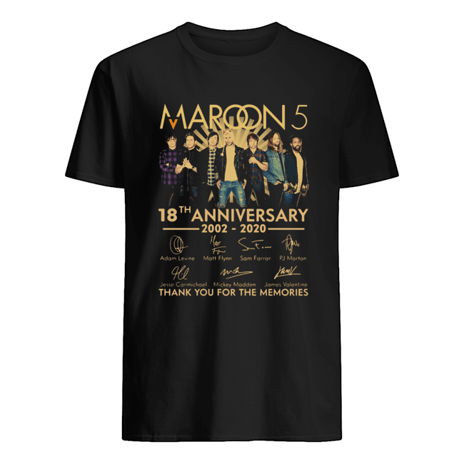 Maroon 5 18th anniversary 2002 – 2020 signatures thank you for the memories  Classic Men's T-shirt