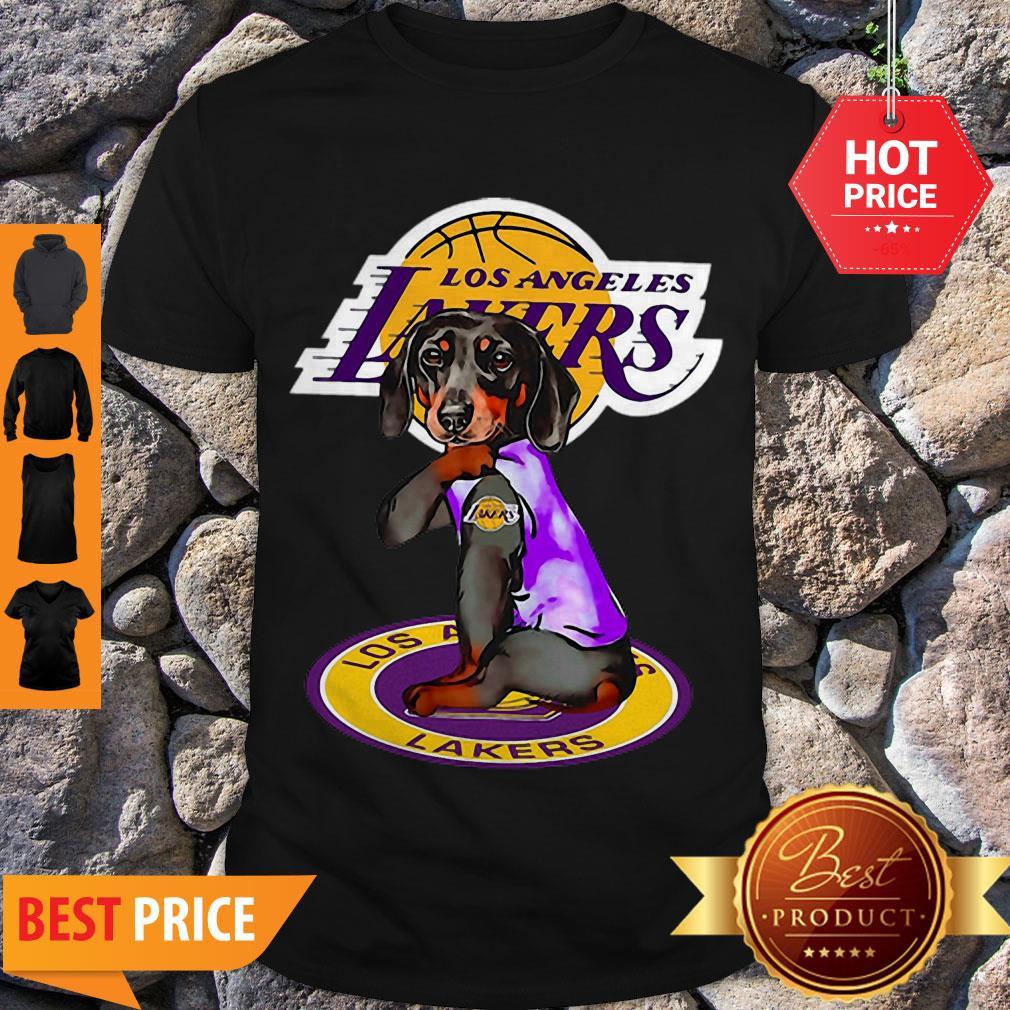 Nice Dachshund Los Angeles Lakers Tattoo Shirt