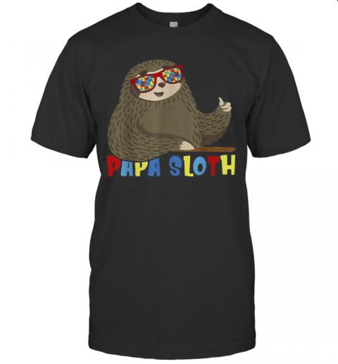 Papa Sloth Autism Awareness Dad Proud Father'S Day T-Shirt Classic Men's T-shirt