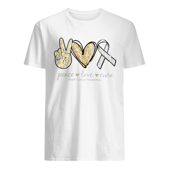 Peace Love Cure brain Cancer Awareness  Classic Men's T-shirt