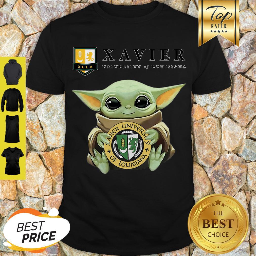 Pretty Star Wars Baby Yoda Hug Xavier University Of Louisiana Shirt