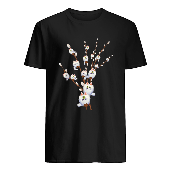 White Cat Willows Flowers Gift  Classic Men's T-shirt