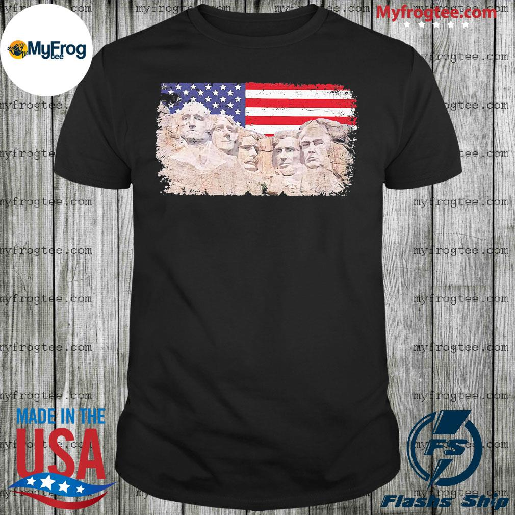 45th added rushmore american flag shirt