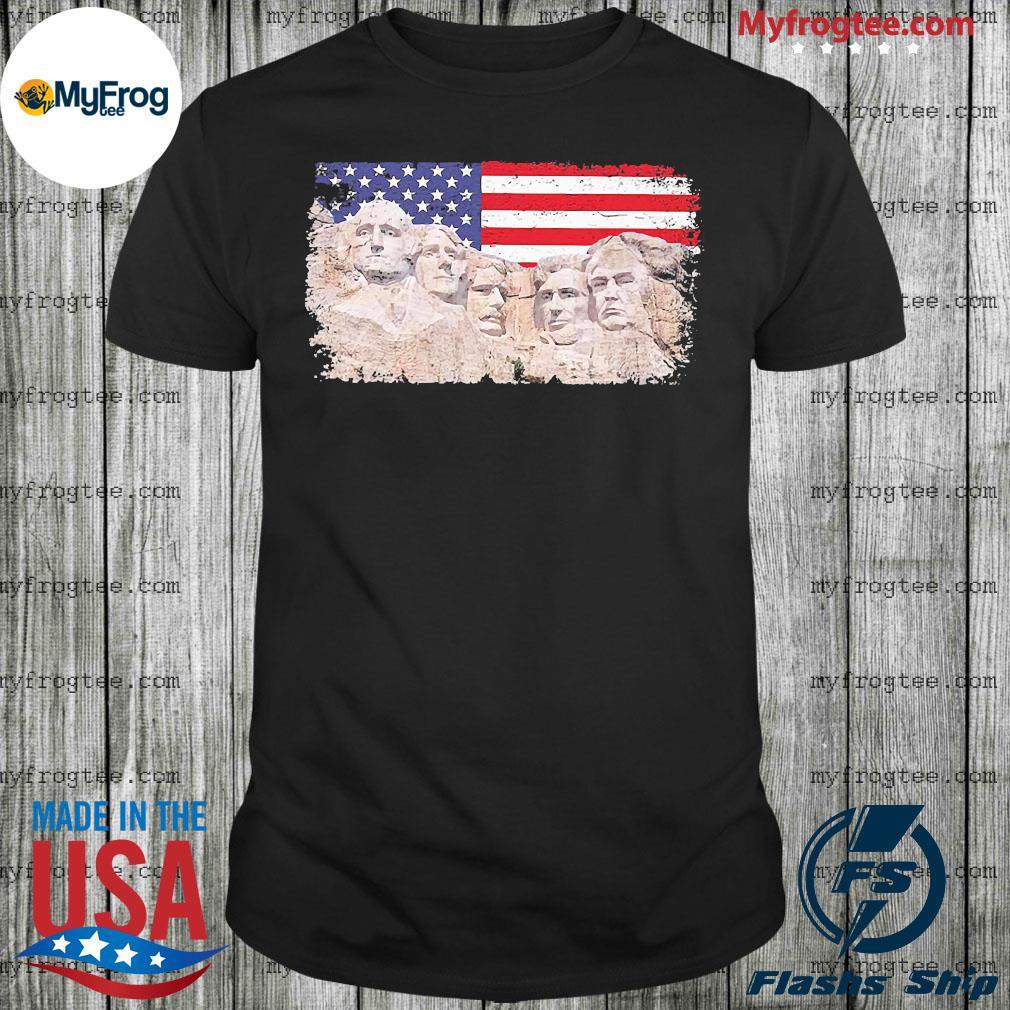 45th added rushmore american flag shirt