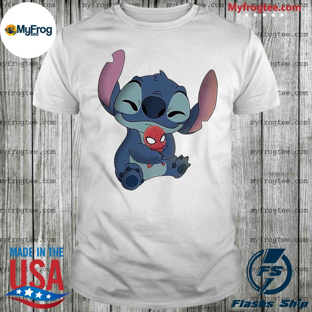 Baby stitch hug baby spider man shirt