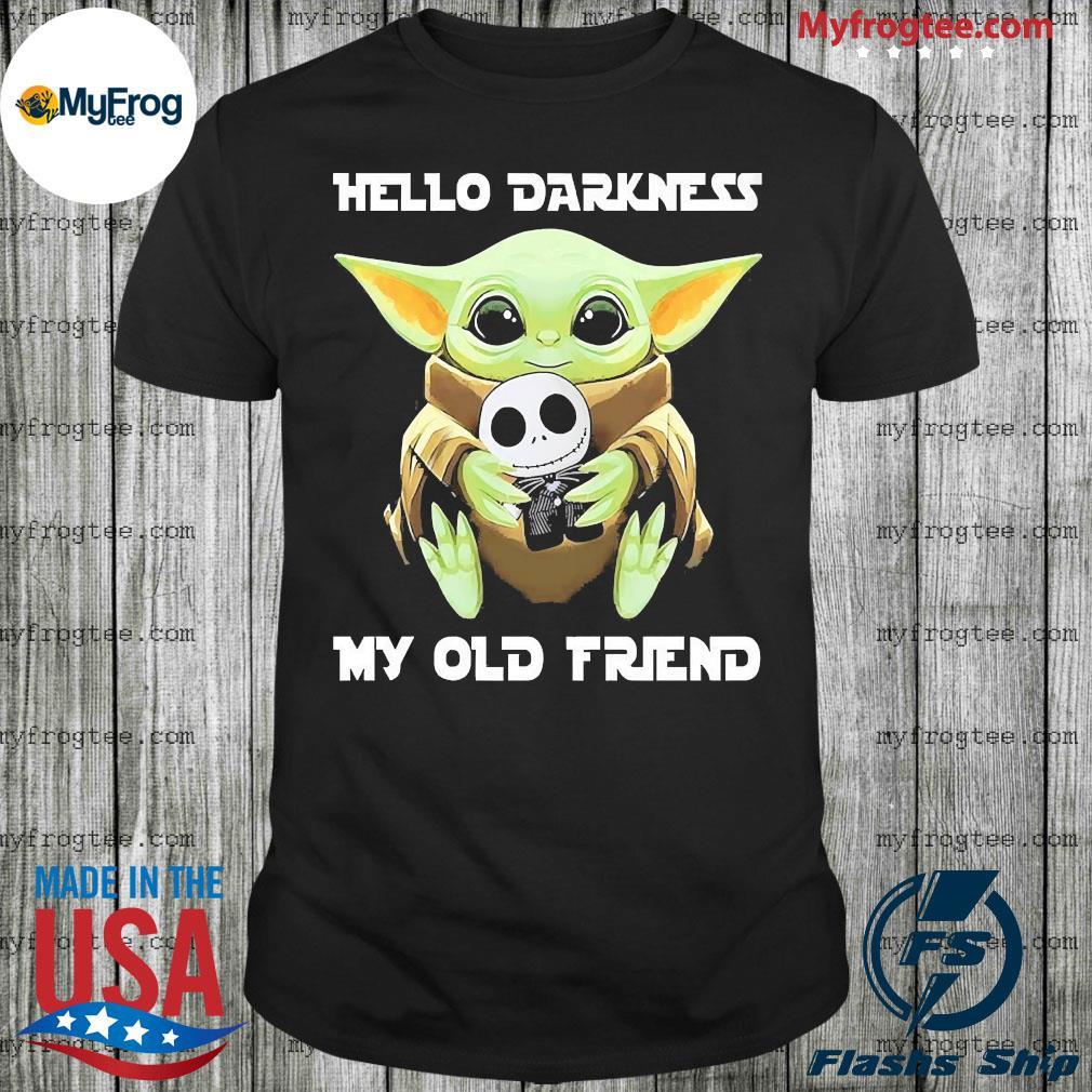 Baby Yoda Hug Jack Skellington Hello Darkness My Old Friend Shirt