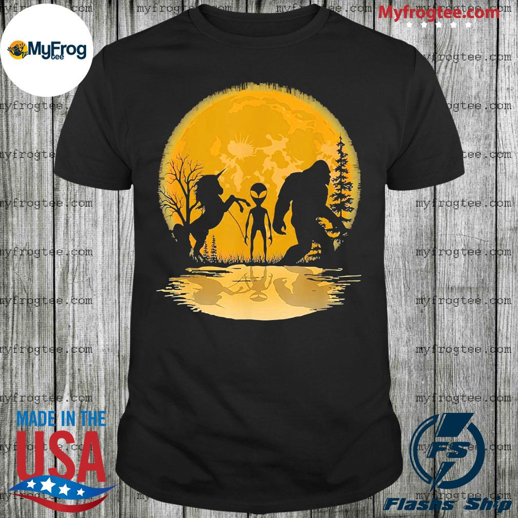 Bigfoot Unicorn and Alien Moon shirt