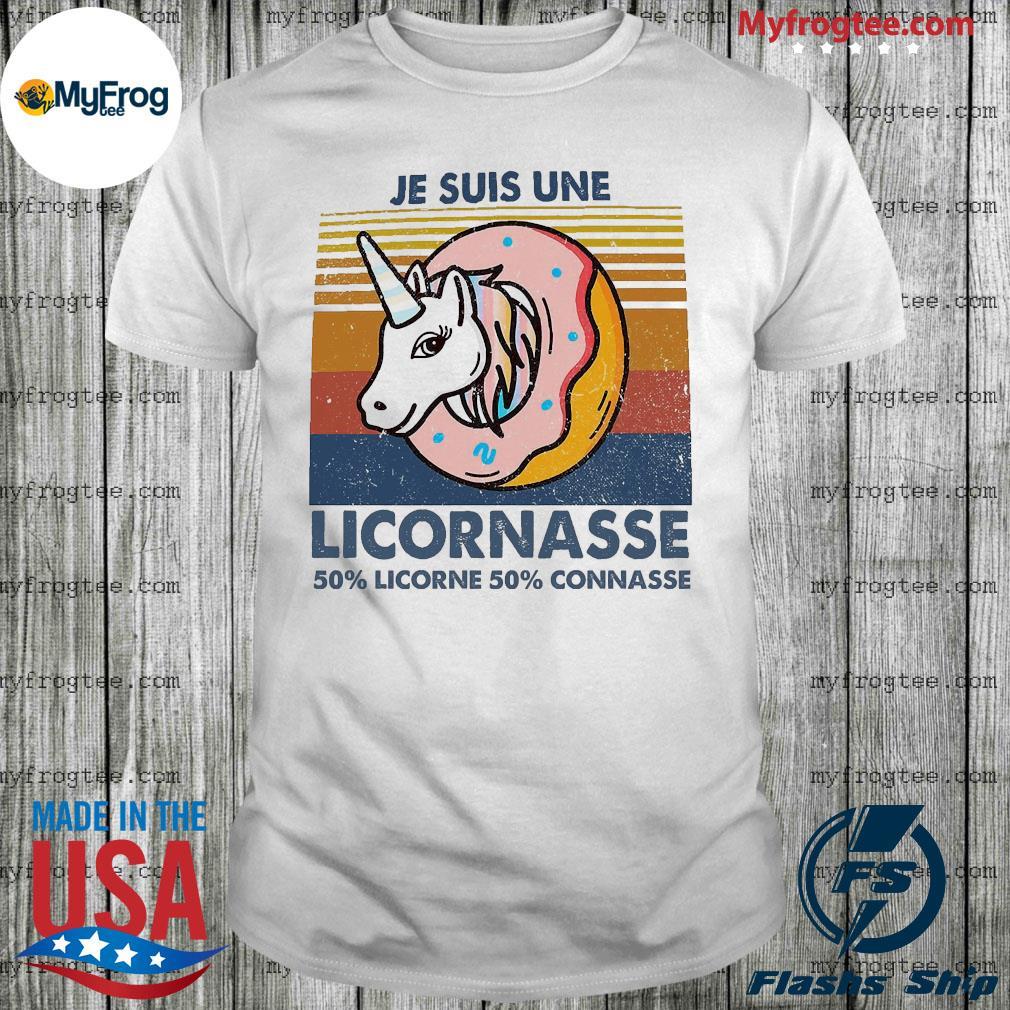 Je Suis Une Licornasse 50% Licorne 50% Connasse Vintage Retro Shirt