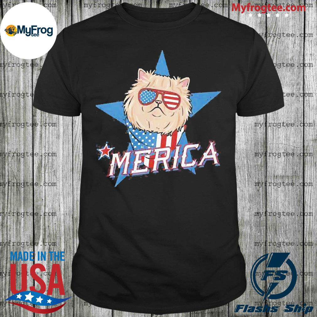 Persian Cat Merica American Flag Shirt