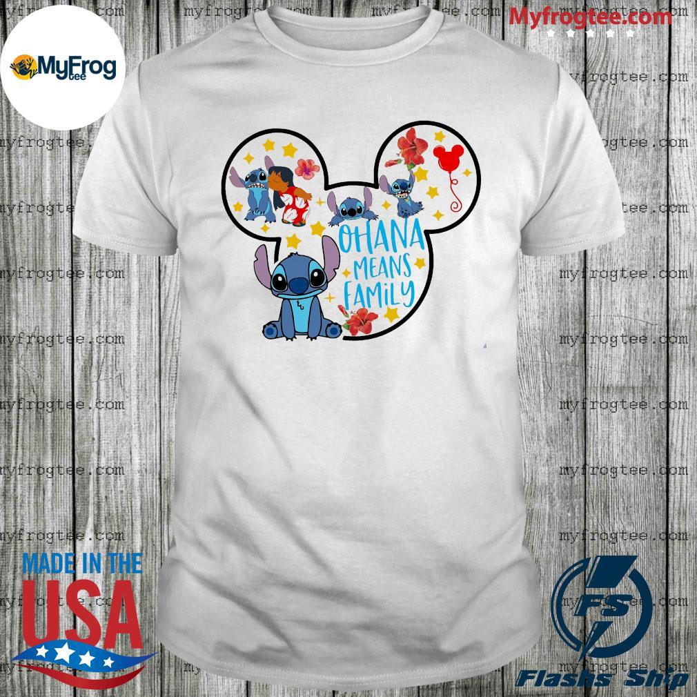 Stitch and Lilo Pelekai Mickey Mouse Ohana means Family shirt