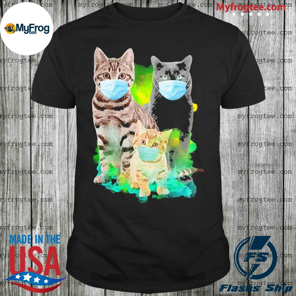 Three cats wear face mask shirt