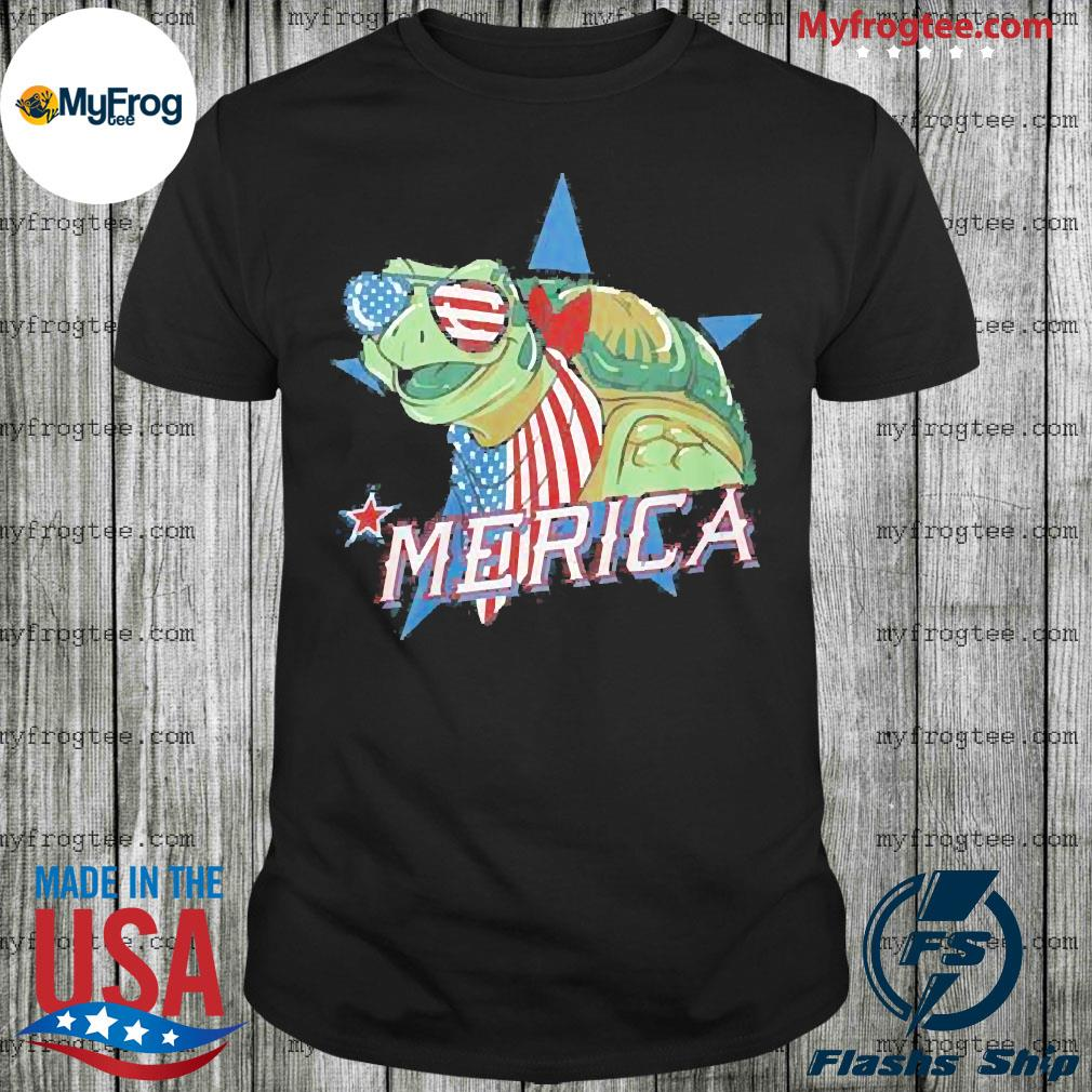 Turtle Merica American Flag Shirt