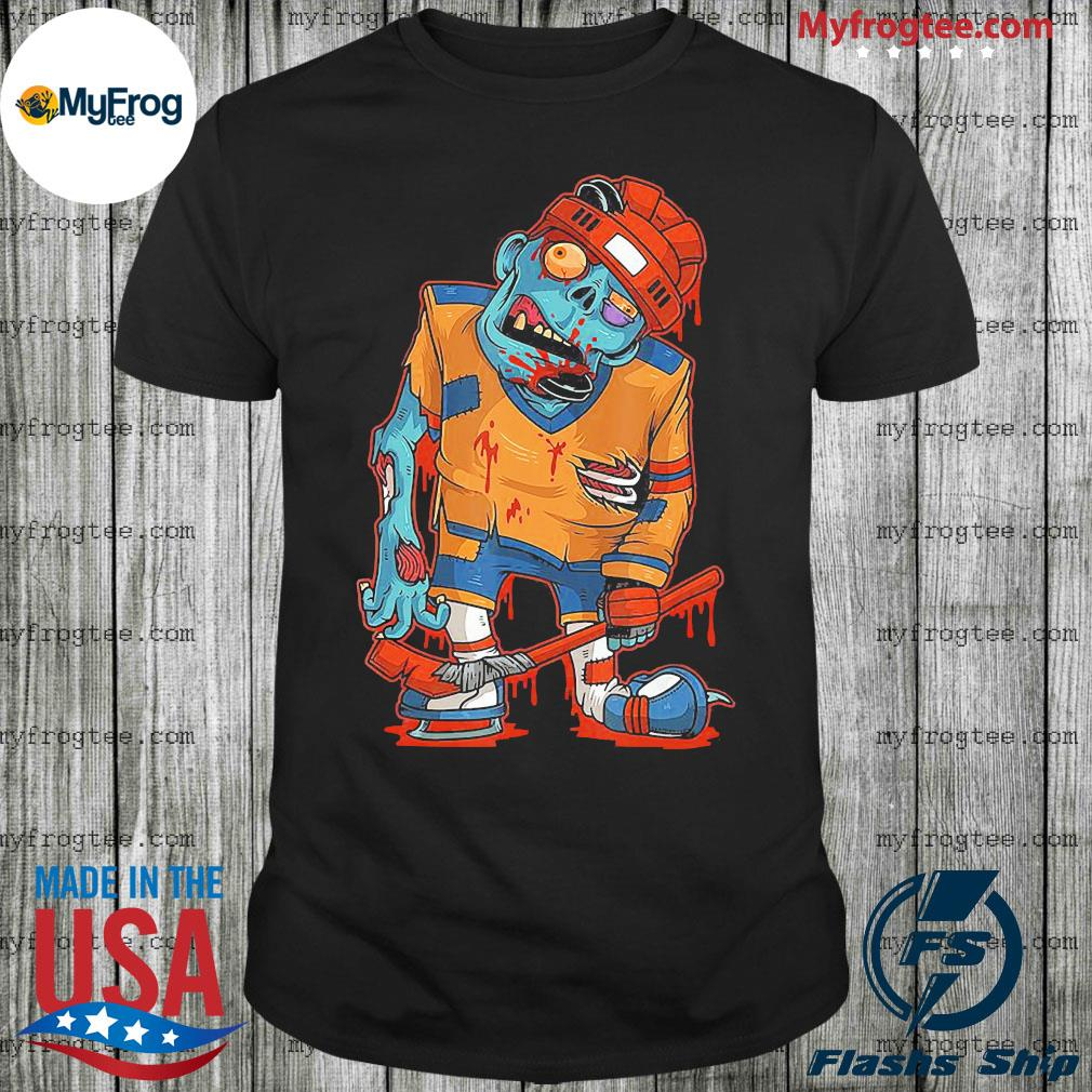 Zombie ice hockey player halloween trick or treating shirt