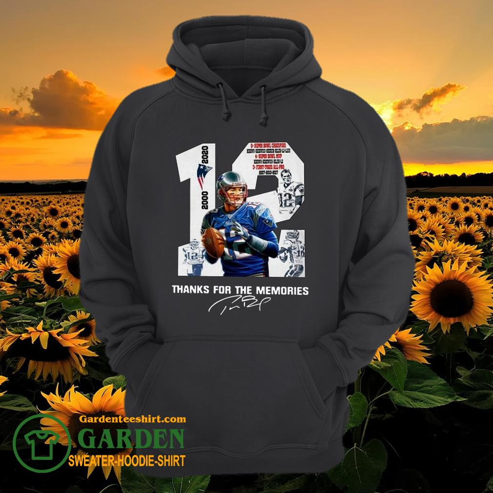 12 Tom Brady thank you for the memories 2000 2020 new England Patriots hoodie