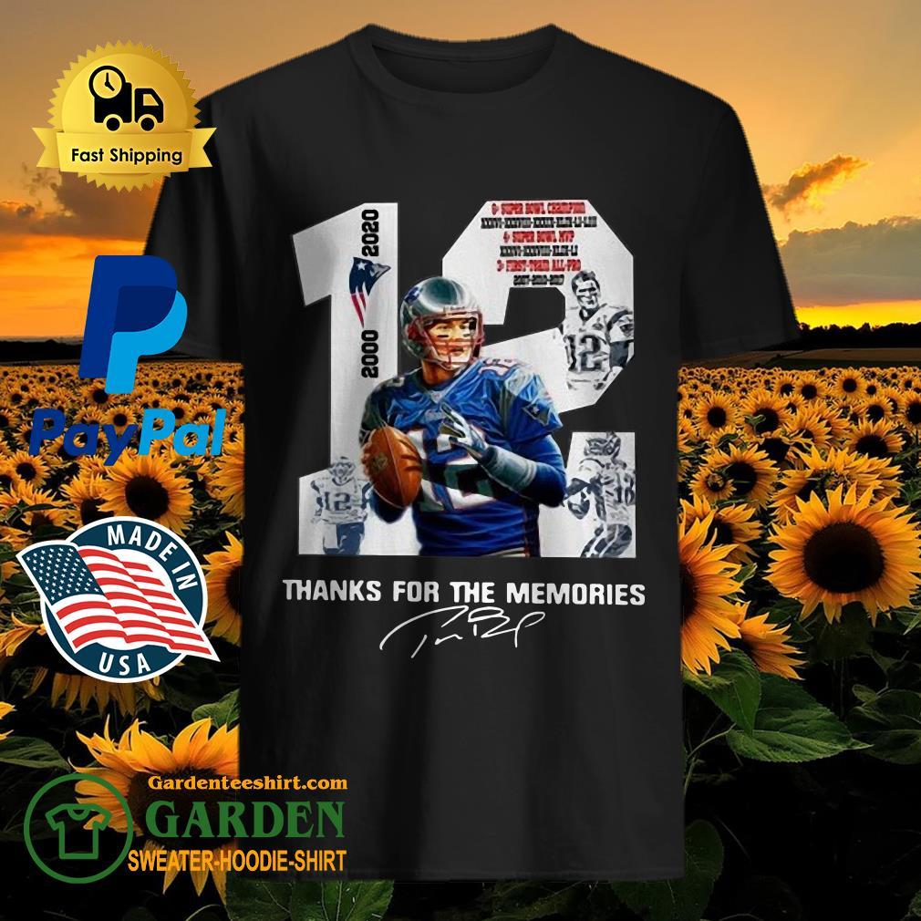12 Tom Brady thank you for the memories 2000 2020 new England Patriots shirt