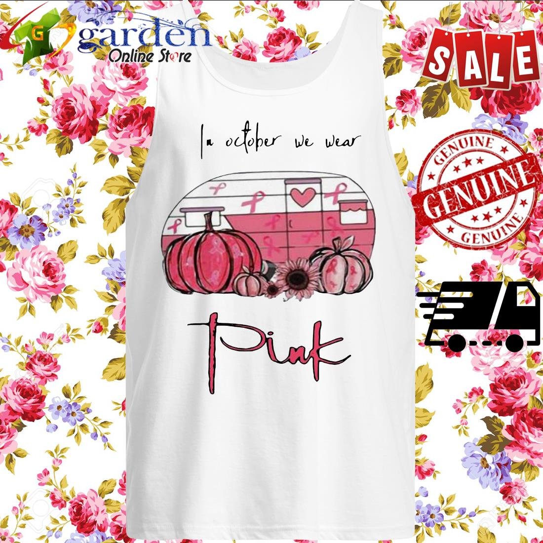 2020 In October We Wear Pink Van Pumpkin Sunflower tank top