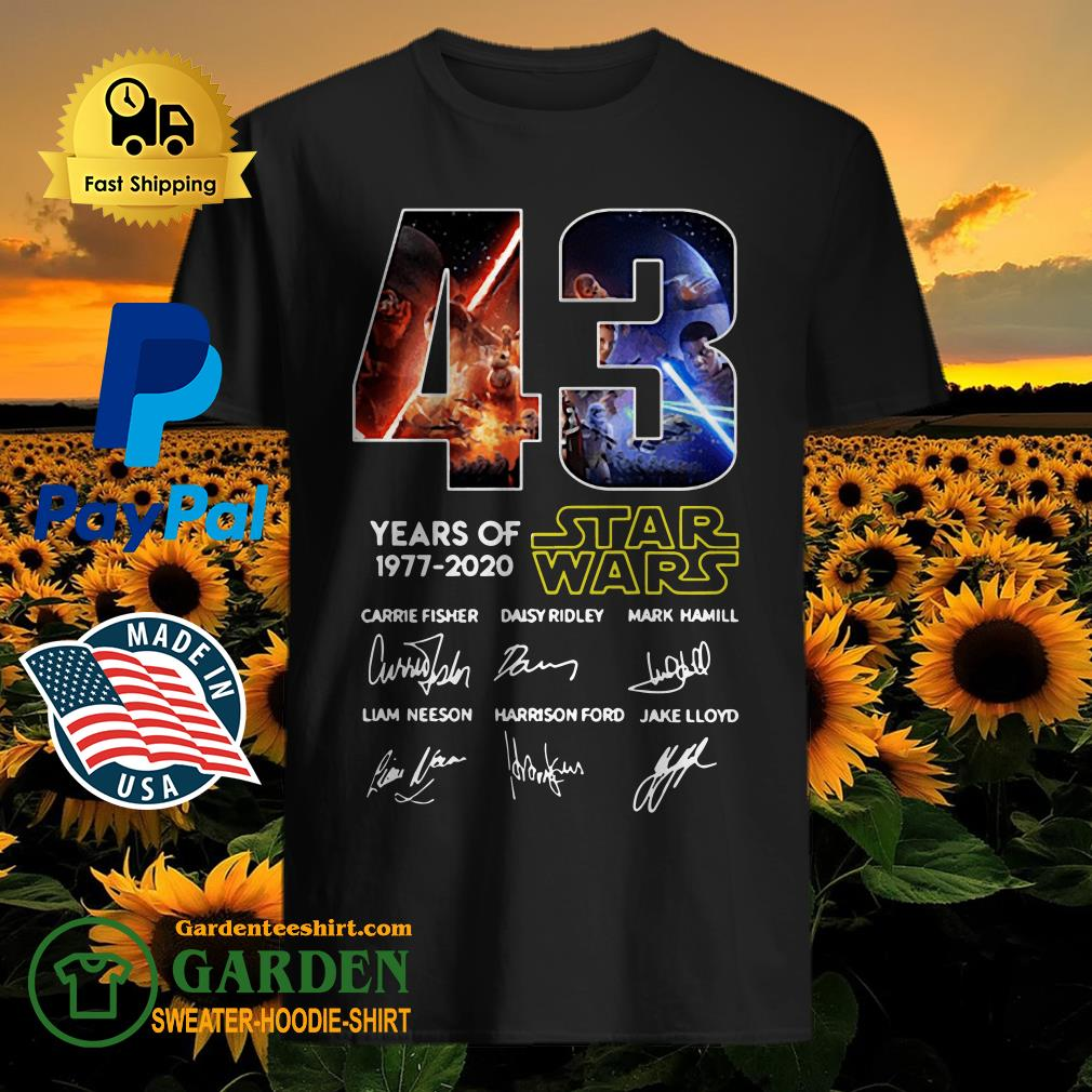 43 Years of Star Wars 1977 2020 Carrie Fisher Daisy Ridley Mark Hamill Liam Neeson Harrison Ford Jake Lloyd signatures shirt