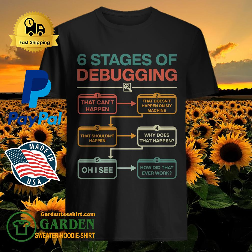 6 stages of debugging that can't happen shirt