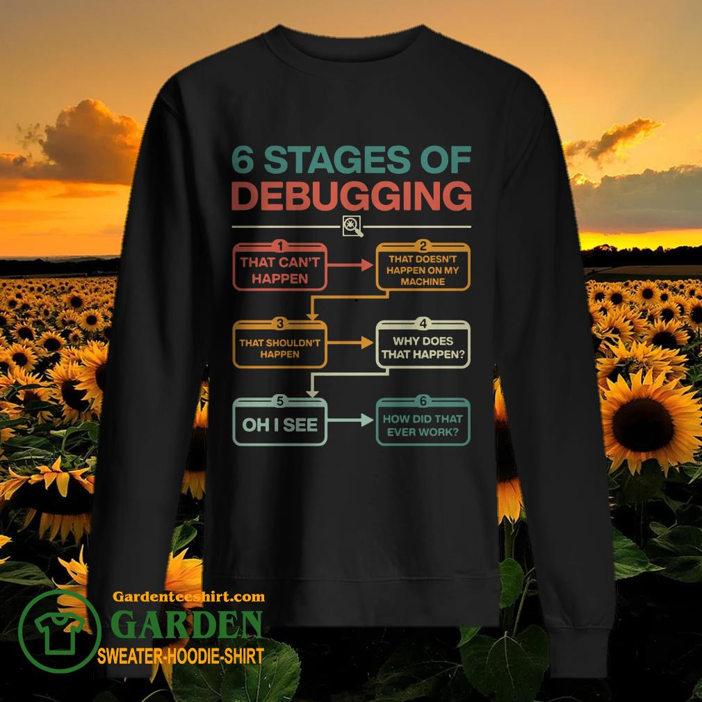 6 stages of debugging that can't happen sweater