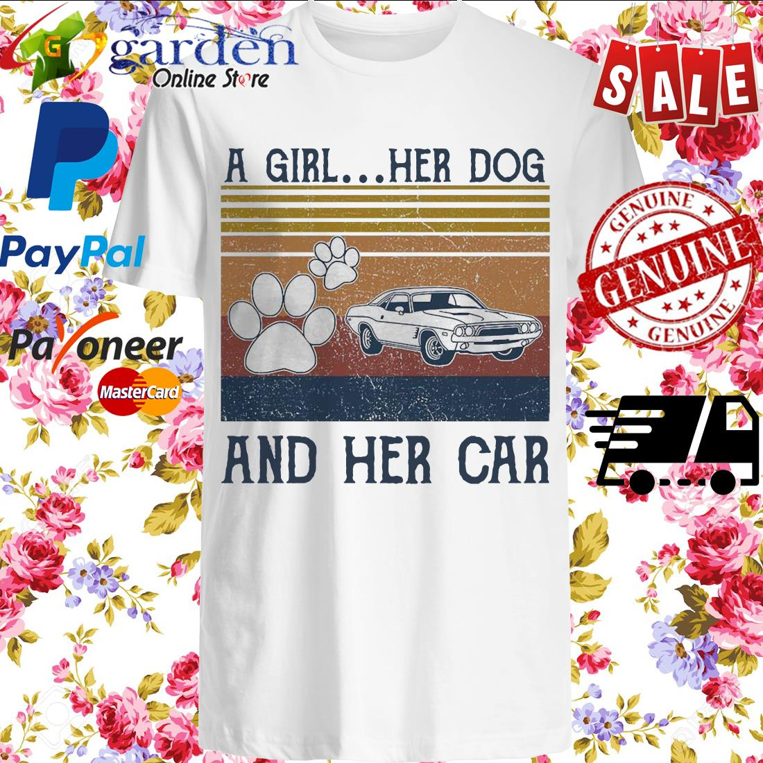 A girl Her Dog and her car vintage shirt