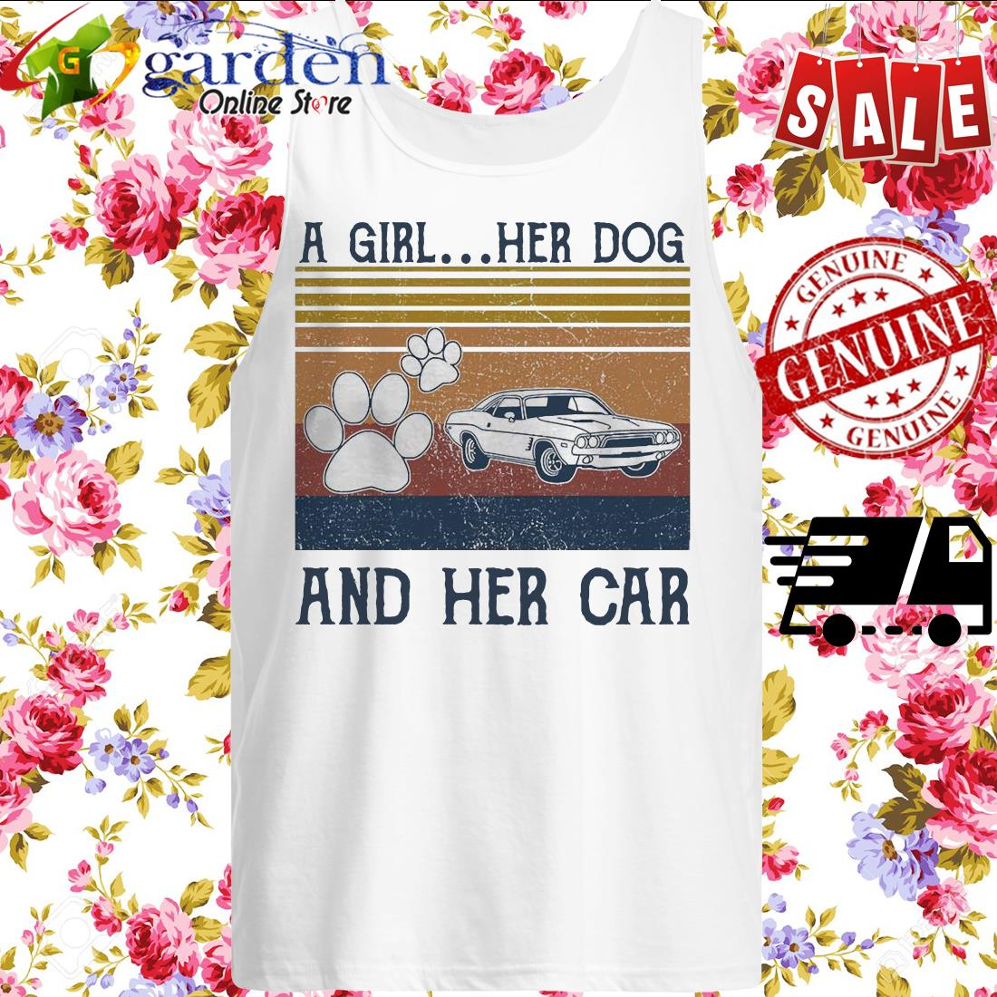 A girl Her Dog and her car vintage tank top
