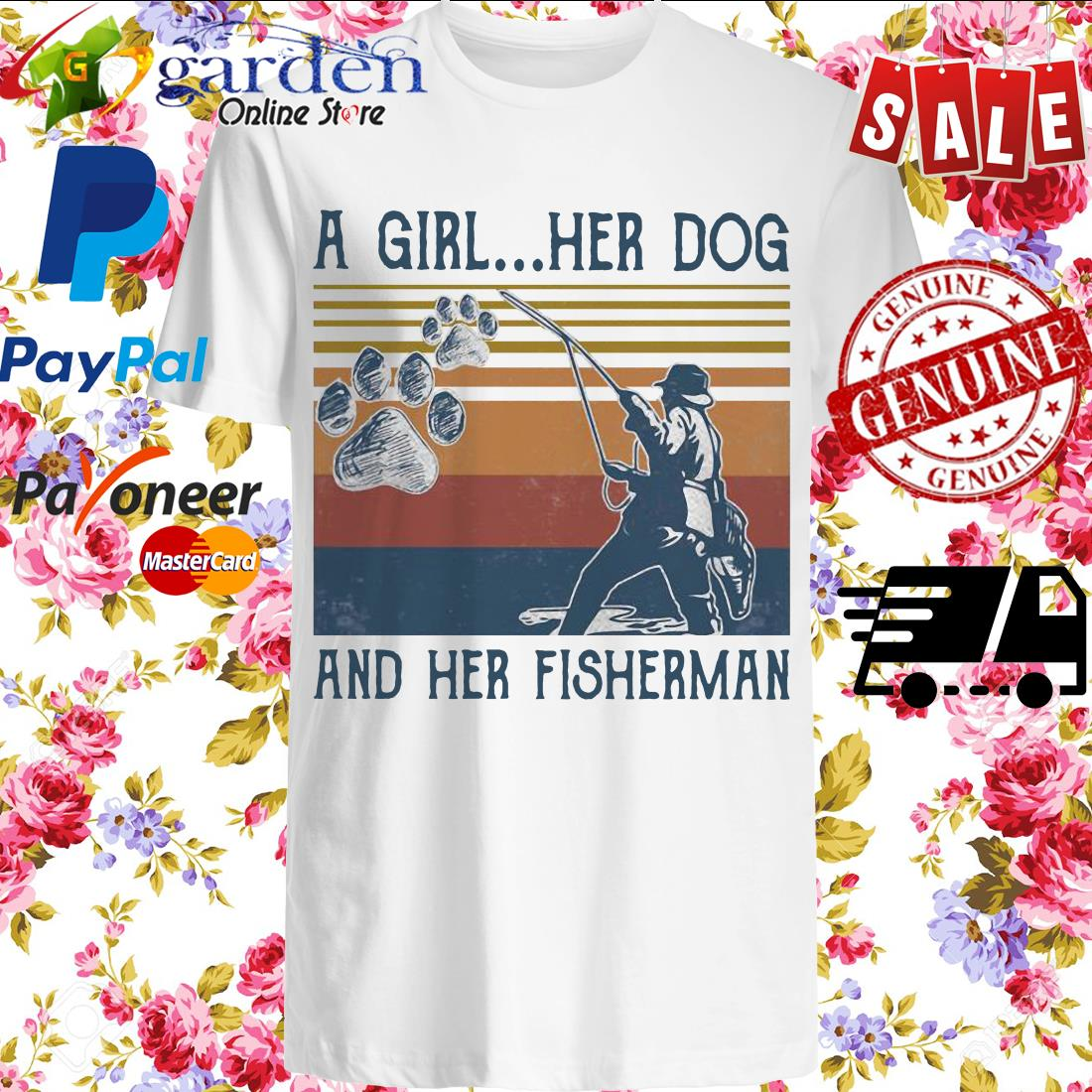 A girl her dog and her fisherman footprint vintage shirt