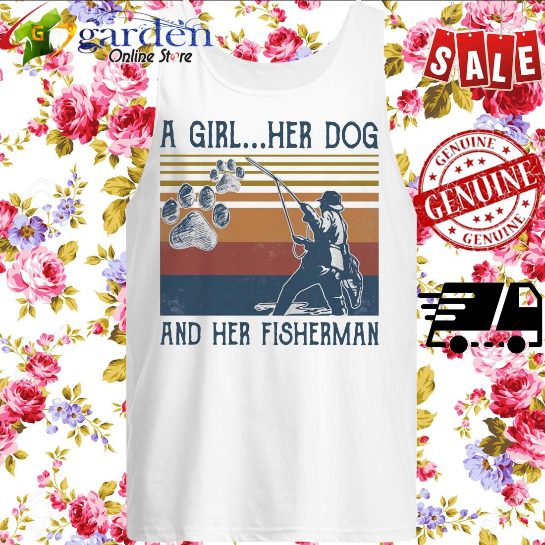 A girl her dog and her fisherman footprint vintage tank top