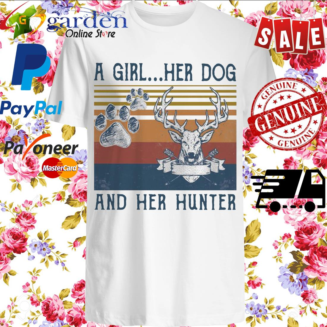 A girl her dog and her hunter footprint vintage shirt