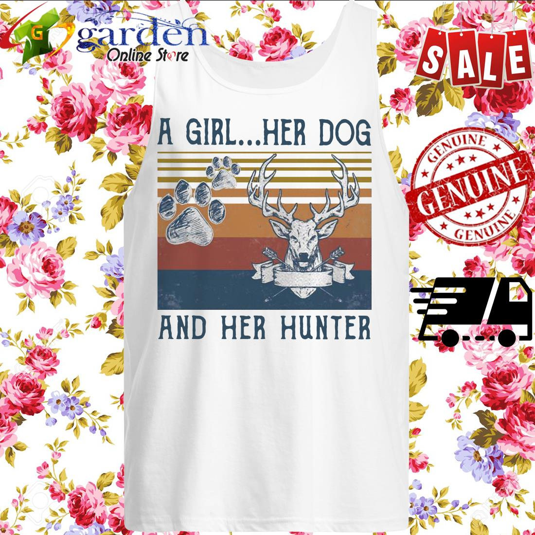 A girl her dog and her hunter footprint vintage tank top