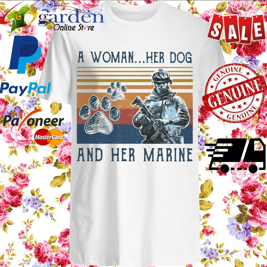 A girl her dog and her marine footprint vintage shirt