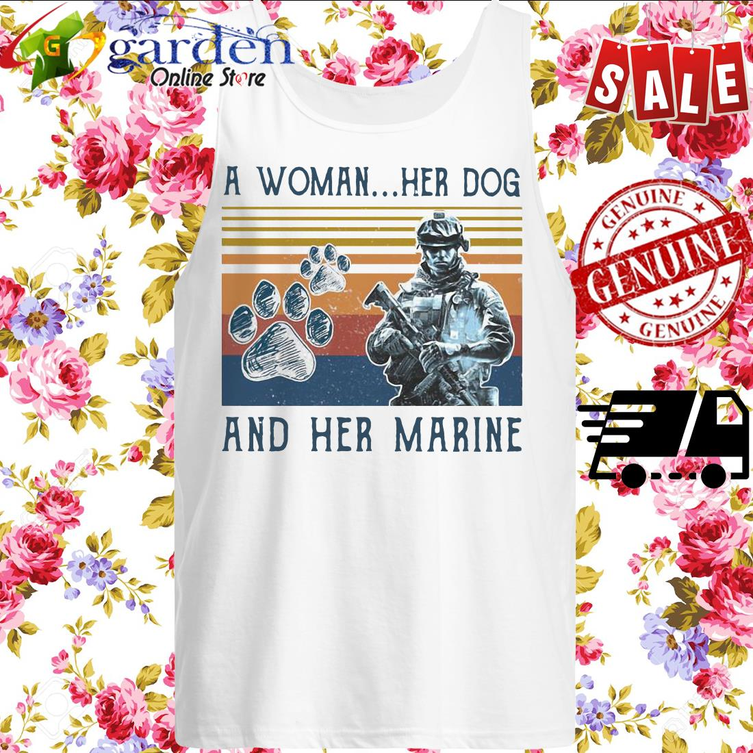 A girl her dog and her marine footprint vintage tank top