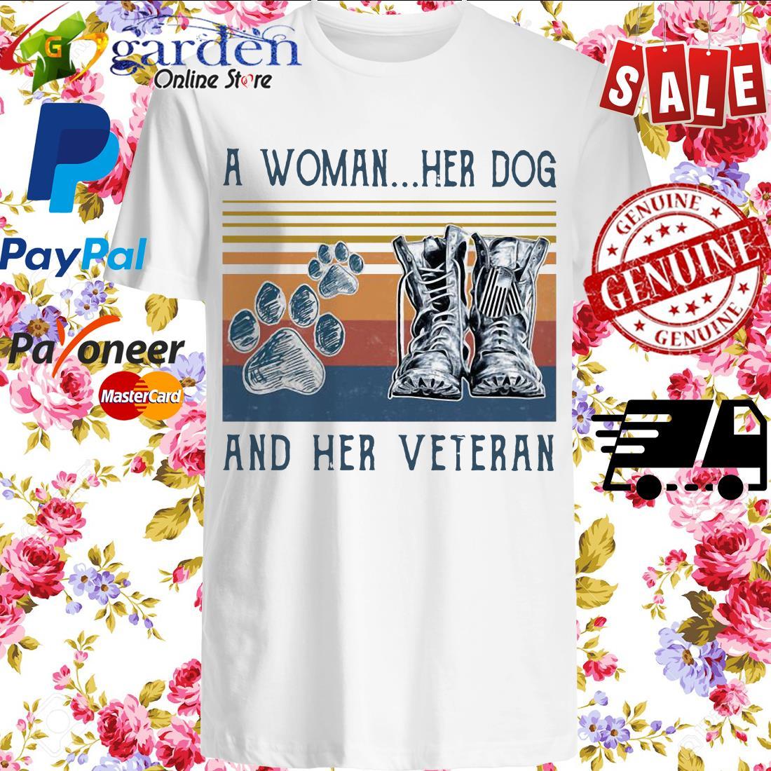 A girl her dog and her veteran footprint vintage shirt