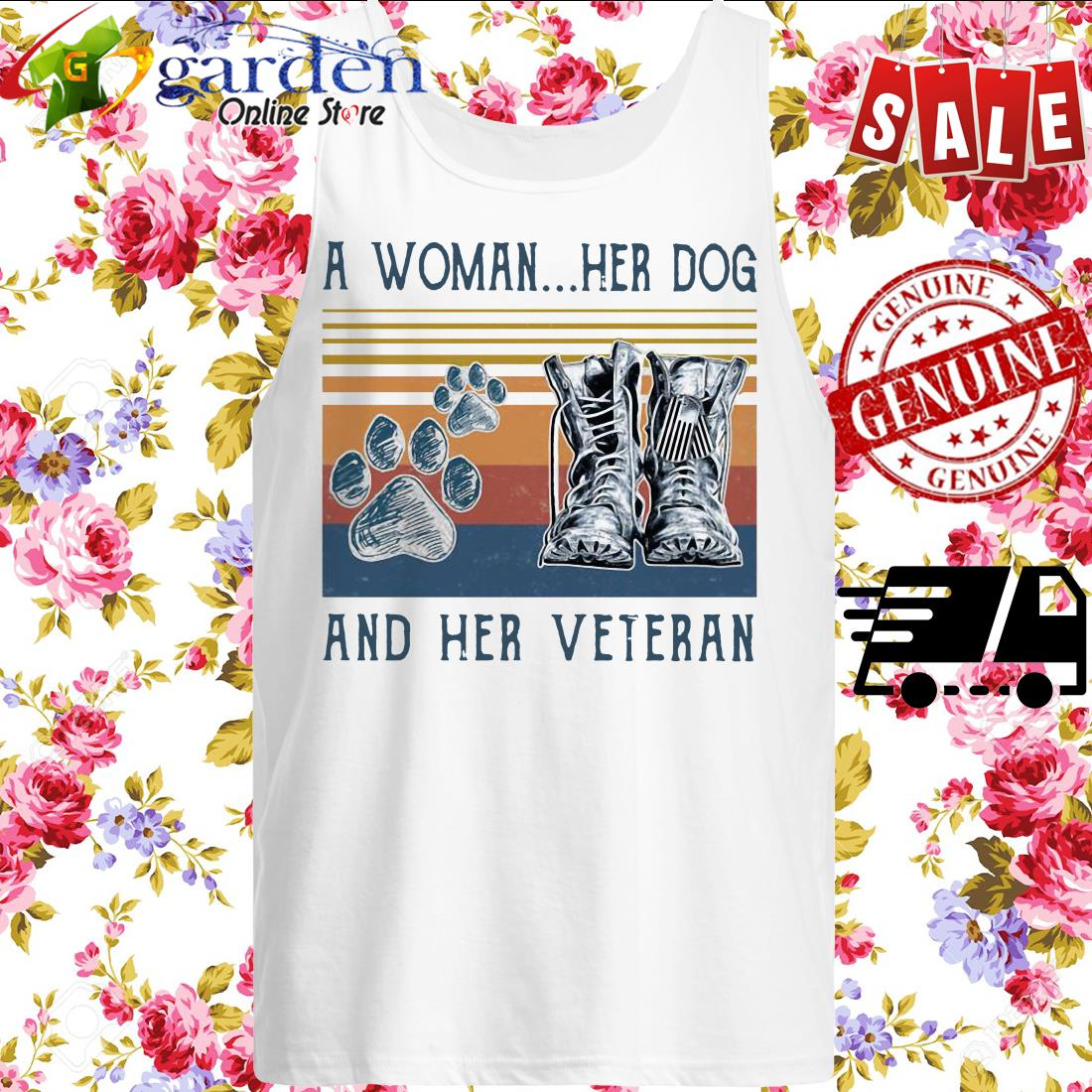 A girl her dog and her veteran footprint vintage tank top