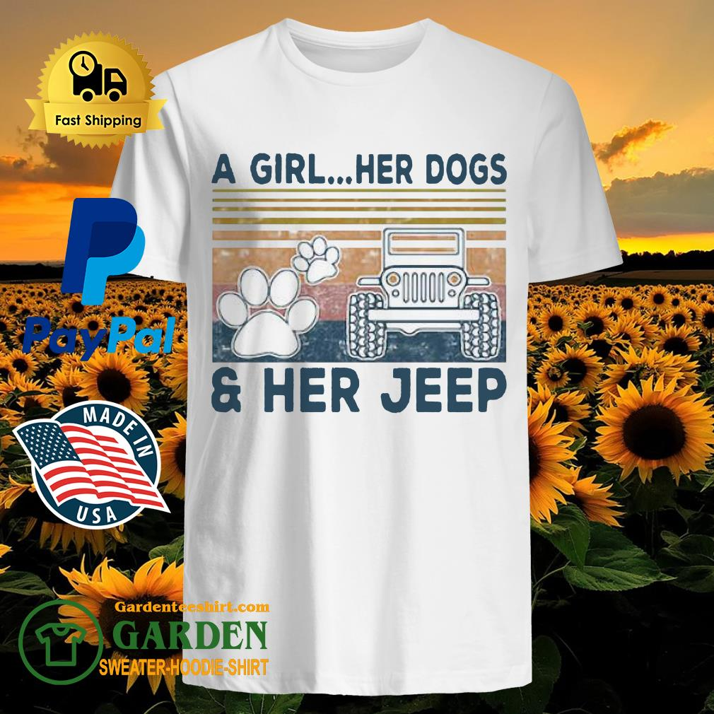 A Girl Her Dogs Paw Her Jeep Vintage shirt