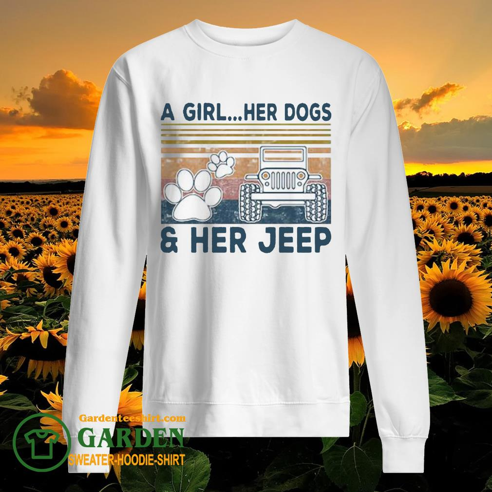 A Girl Her Dogs Paw Her Jeep Vintage sweater