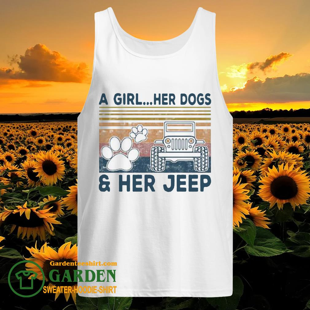 A Girl Her Dogs Paw Her Jeep Vintage tank top