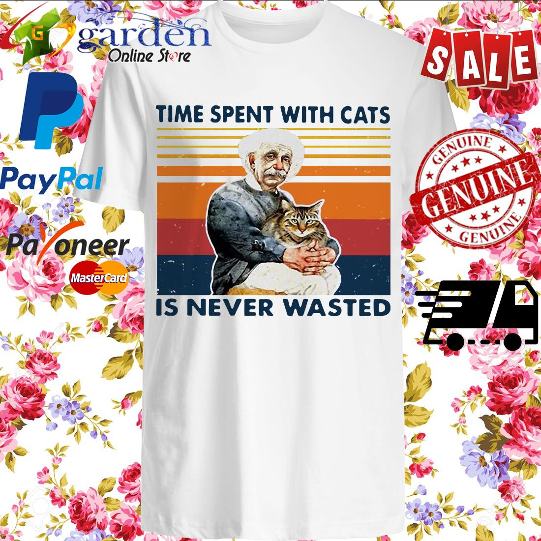 Albert Einstein time spent with cats is never wasted vintage shirt