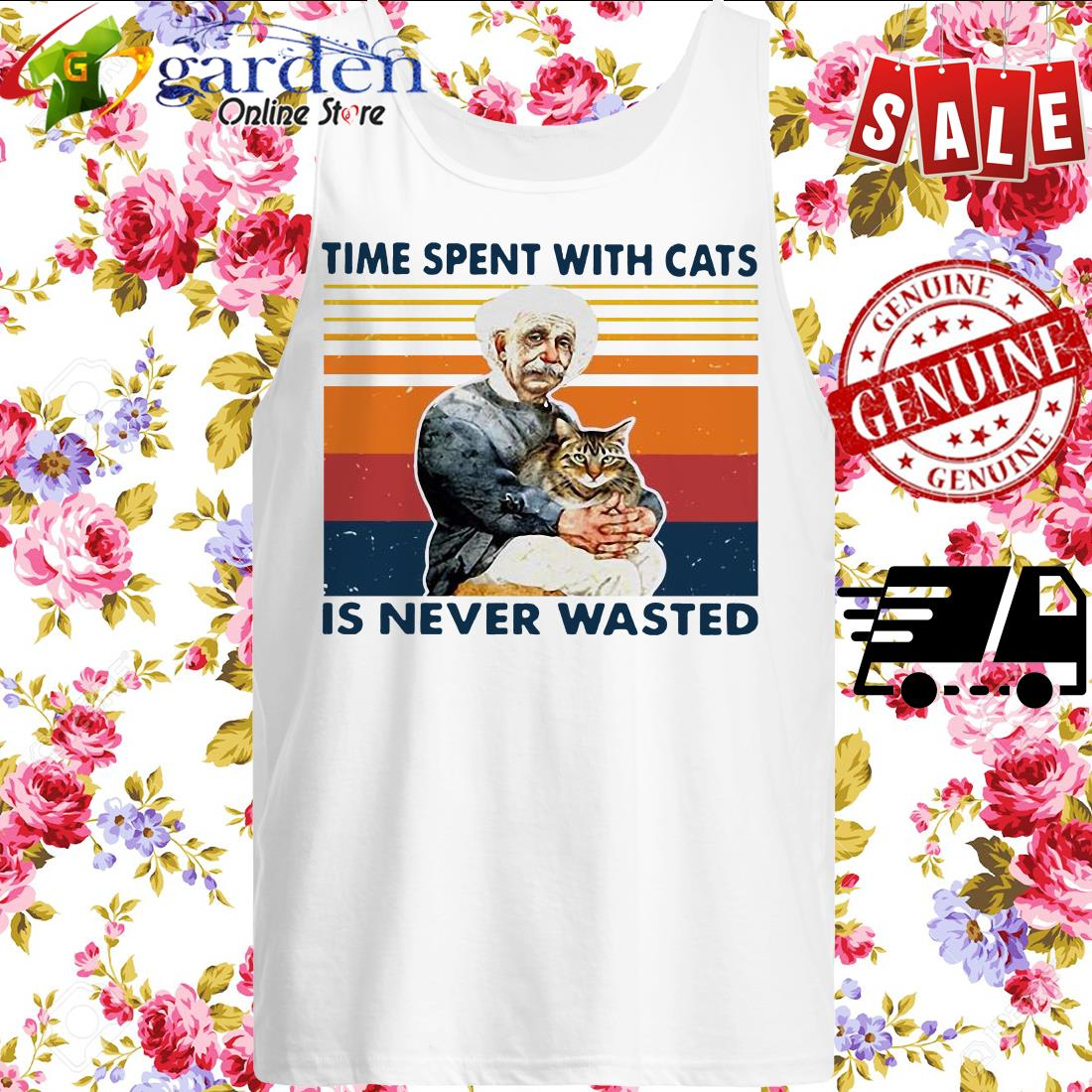 Albert Einstein time spent with cats is never wasted vintage tank top