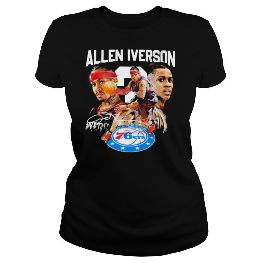 Allen iverson philadelphia 76ers basketball player signature shirt