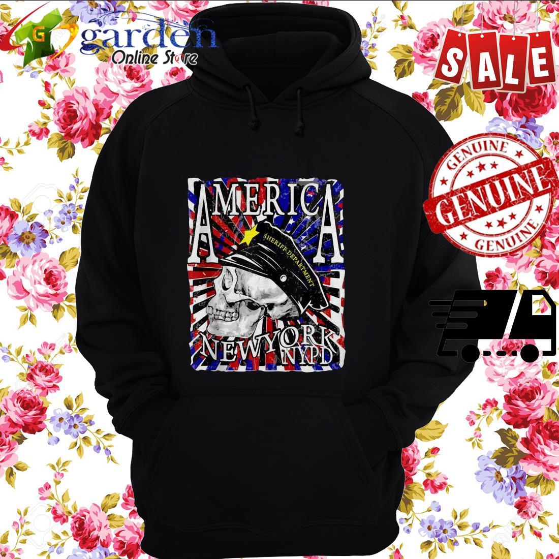 America Sheriff Department New York NYPD USA Flag Skull hoodie