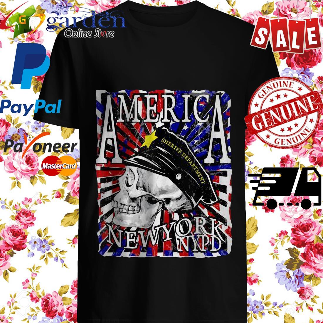 America Sheriff Department New York NYPD USA Flag Skull Shirt