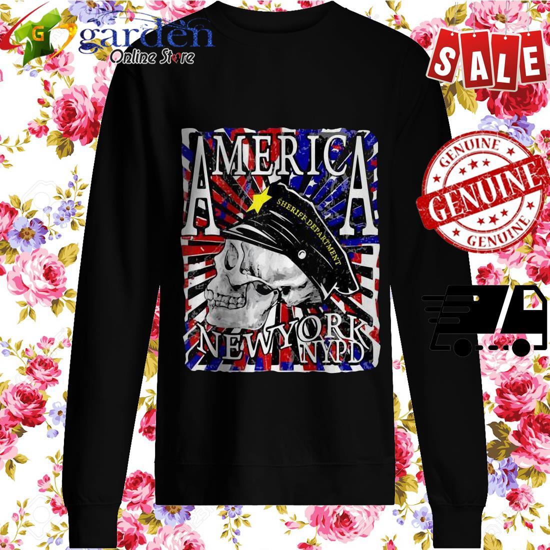 America Sheriff Department New York NYPD USA Flag Skull sweater
