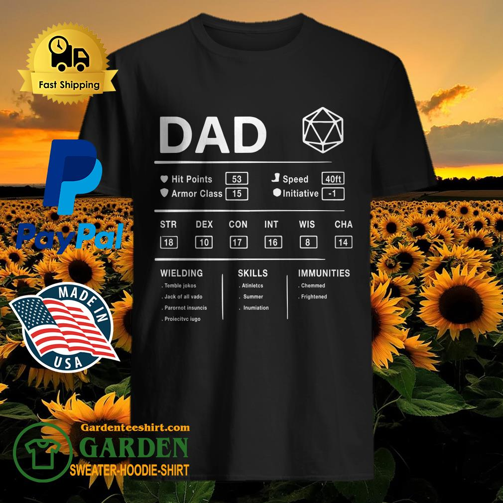 Dad Hit Points Speed Armor Class Initiative Wielding Shirt