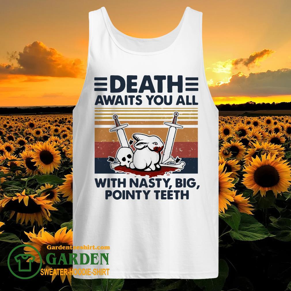 Death awaits you all with nasty big pointy teeth rabbit skull vintage tank top