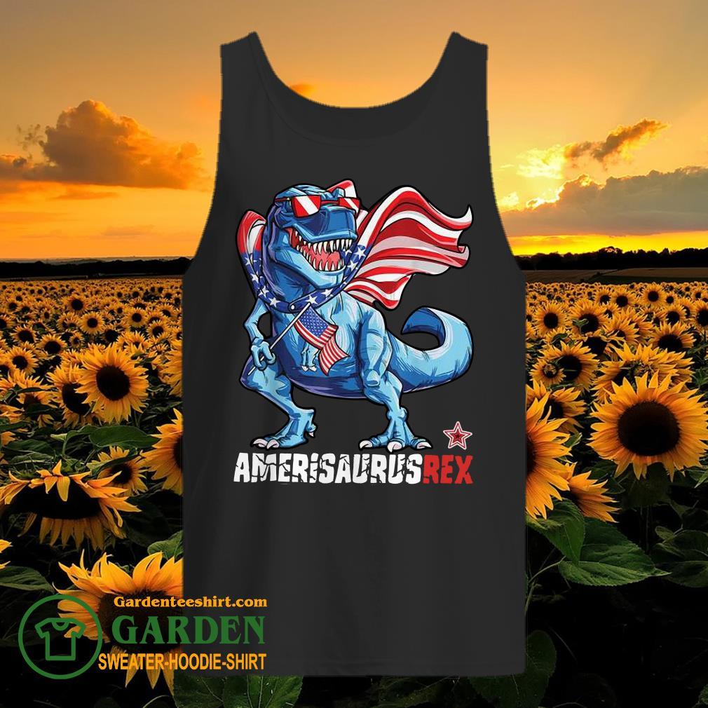 Dinosaur American Flag 4th of July tank top