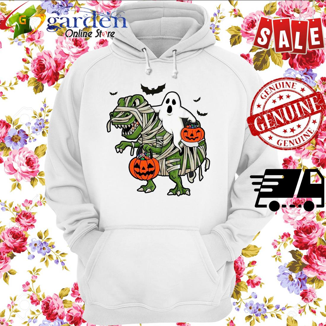 Dinosaur T-rex and Ghost Halloween pumpkin hoodie