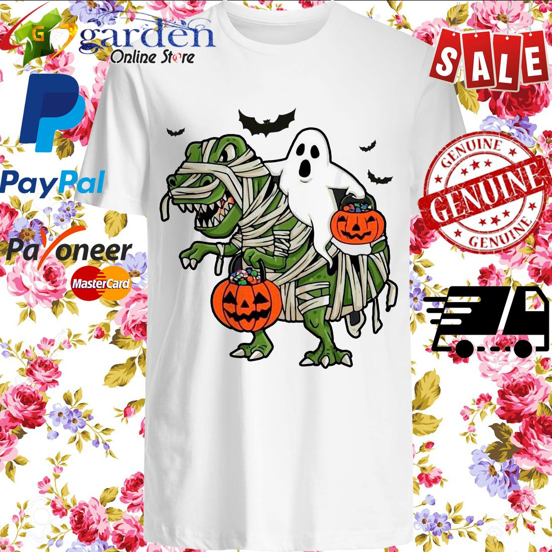 Dinosaur T-rex and Ghost Halloween pumpkin Shirt