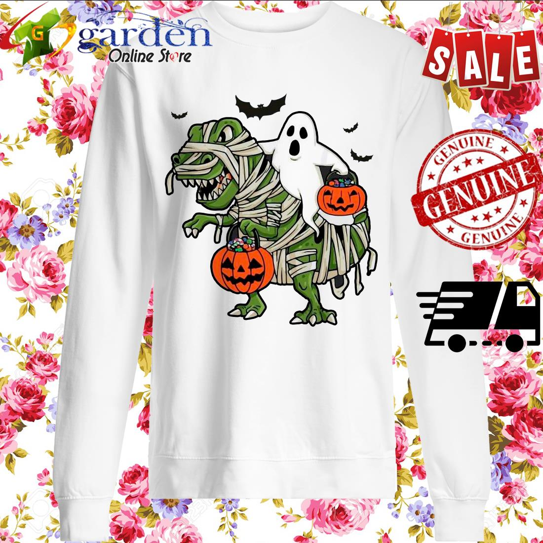 Dinosaur T-rex and Ghost Halloween pumpkin sweater