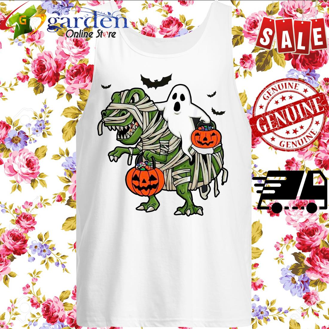 Dinosaur T-rex and Ghost Halloween pumpkin tank top