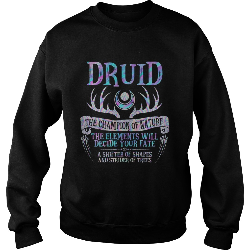 Druid the champion of nature the elements will decide your fate a shifter of shapes and strider of Sweatshirt